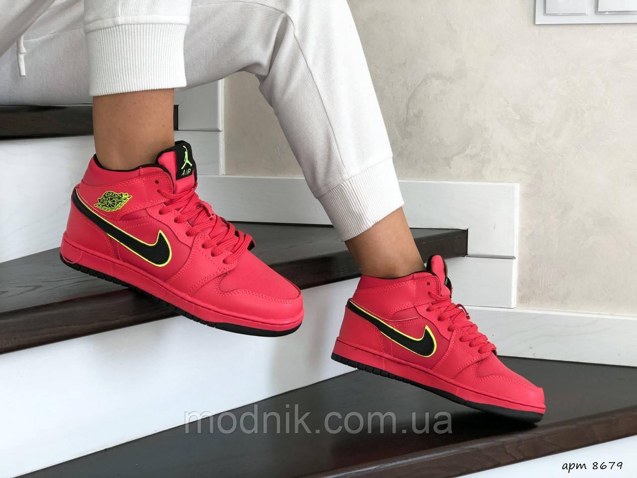 Женские зимние кроссовки Nike Air Jordan 1 Retro (коралловые)