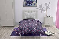 Полуторный комплект постельного белья HalfTones, хлопок, бязь, 160*220см фиолетовый с сердечками