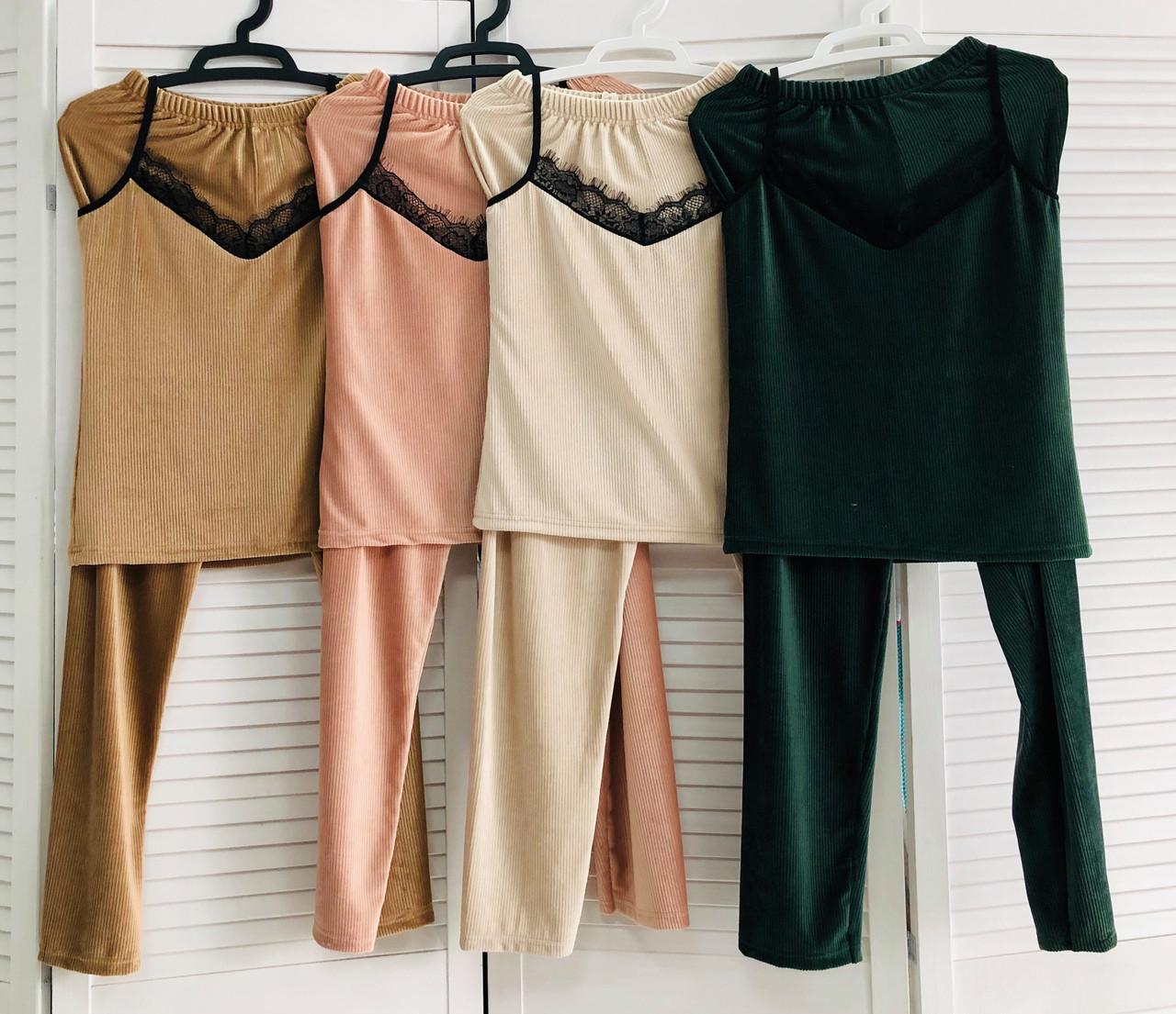 Комплект - пижама велюровая топ и брюки