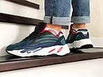 Мужские кроссовки Adidas Yeezy Boost 700 (сине-черные), фото 4