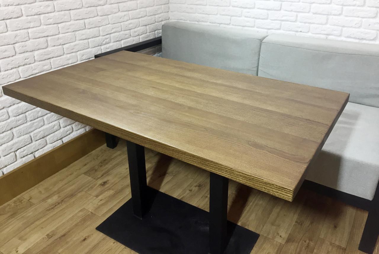 Прямоугольные столы для кафе баров из массива дерева и ножки из металла, фото 1