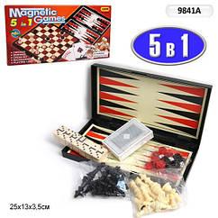 """Шахматы магнит. 9841A  """"5в1"""""""