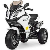 Детский мотоцикл M 3913 EL-1 BMW с кожаным сиденьем, белый
