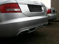 Диффузор заднего бампера юбка тюнинг Audi A6 C6 седан стиль ABT