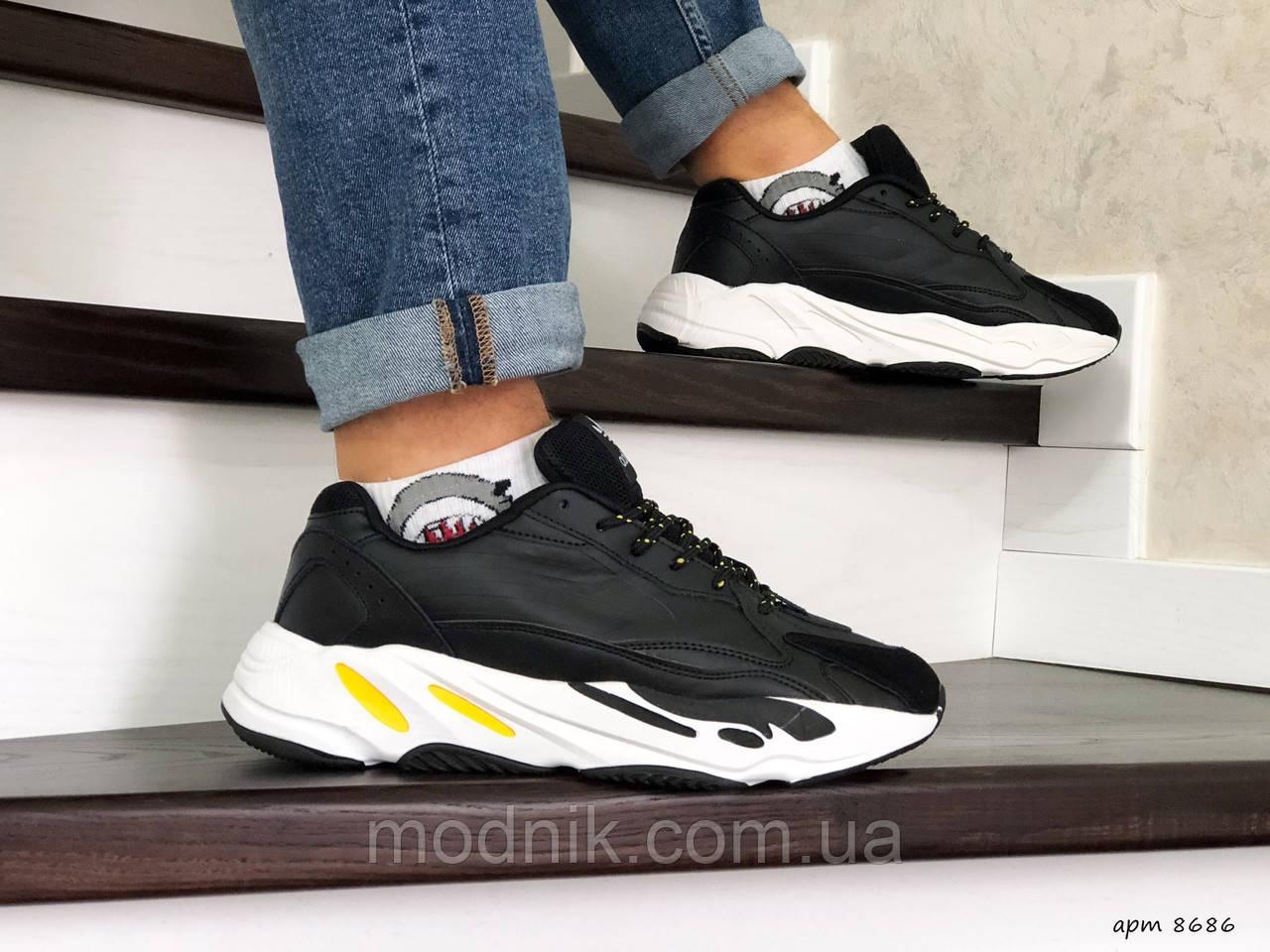 Мужские кроссовки Adidas Yeezy Boost 700 (черно-белые)