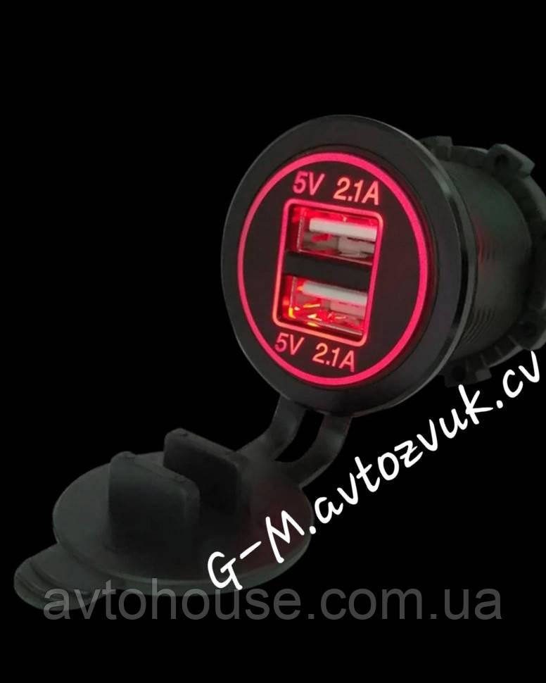 Автомобильное зарядное 2хUSB (12 V) с красной подсветкой / врезная розетка / адаптер питания USB