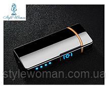 Электро-импульсная USB зажигалка с двумя перекрестными молниями сенсорная HL-44