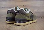 Мужские зимние кроссовки New Balance 574 (зелено-коричневые), фото 6