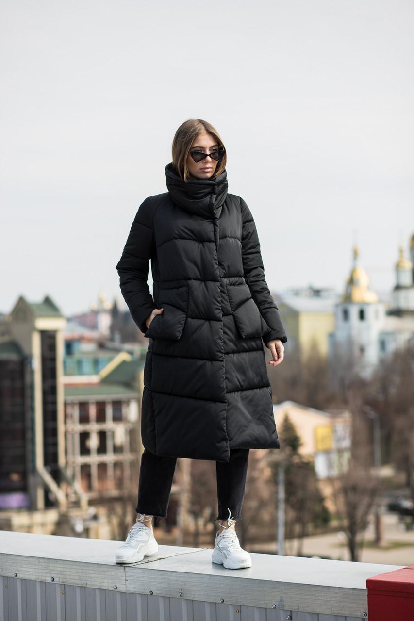Модная удлиненная женская куртка KTL-357 черного цвета из новой коллекции KATTALEYA