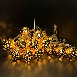 """Гирлянда светодиодная Шарики """"Золото"""" 20 ламп 4 метра, много разновидностей!"""