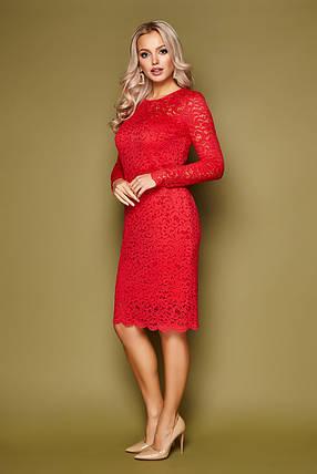 Красное вечернее платье с кружевом длина до колен, фото 2