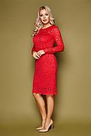 Красное вечернее платье с кружевом длина до колен