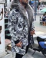 ХИТ!!! Парка Мужская зимняя черно-белая с капюшоном, на меху+силикон, еврозима -15 С, ЛЮКС Качесто!!!
