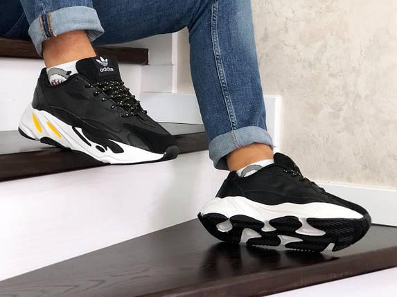 Мужские кроссовки черные прессованная кожа вставки эко замши, фото 2