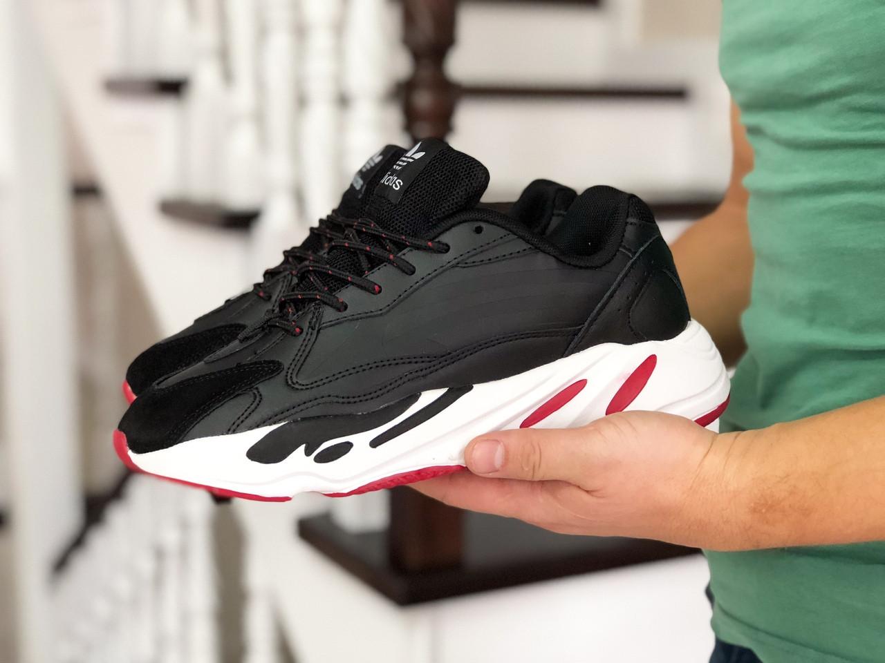 Мужские кроссовки черные прессованная кожа вставки эко замши