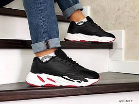 Мужские кроссовки черные прессованная кожа вставки эко замши, фото 3