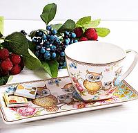 """Кофейная чашка с блюдцем """"Совы"""" 75 мл 924-040"""