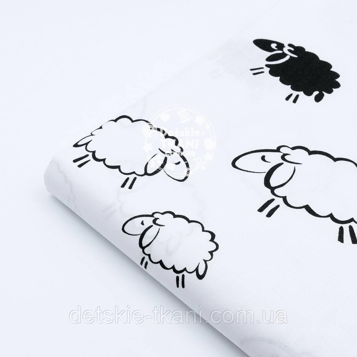 """Отрез ткани """"Контурные и чёрные овечки"""" на белом фоне, №1666"""