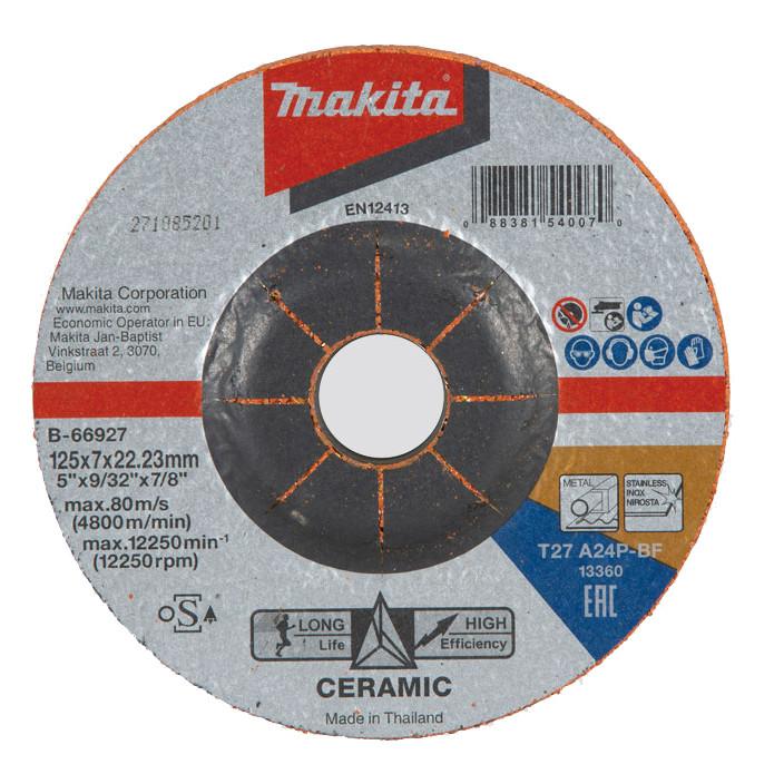 Зачистной диск с керамическим зерном Makita 125x7x22 мм (B-66927)