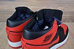 Мужские зимние кроссовки Nike Air Jordan (красно-черные), фото 5