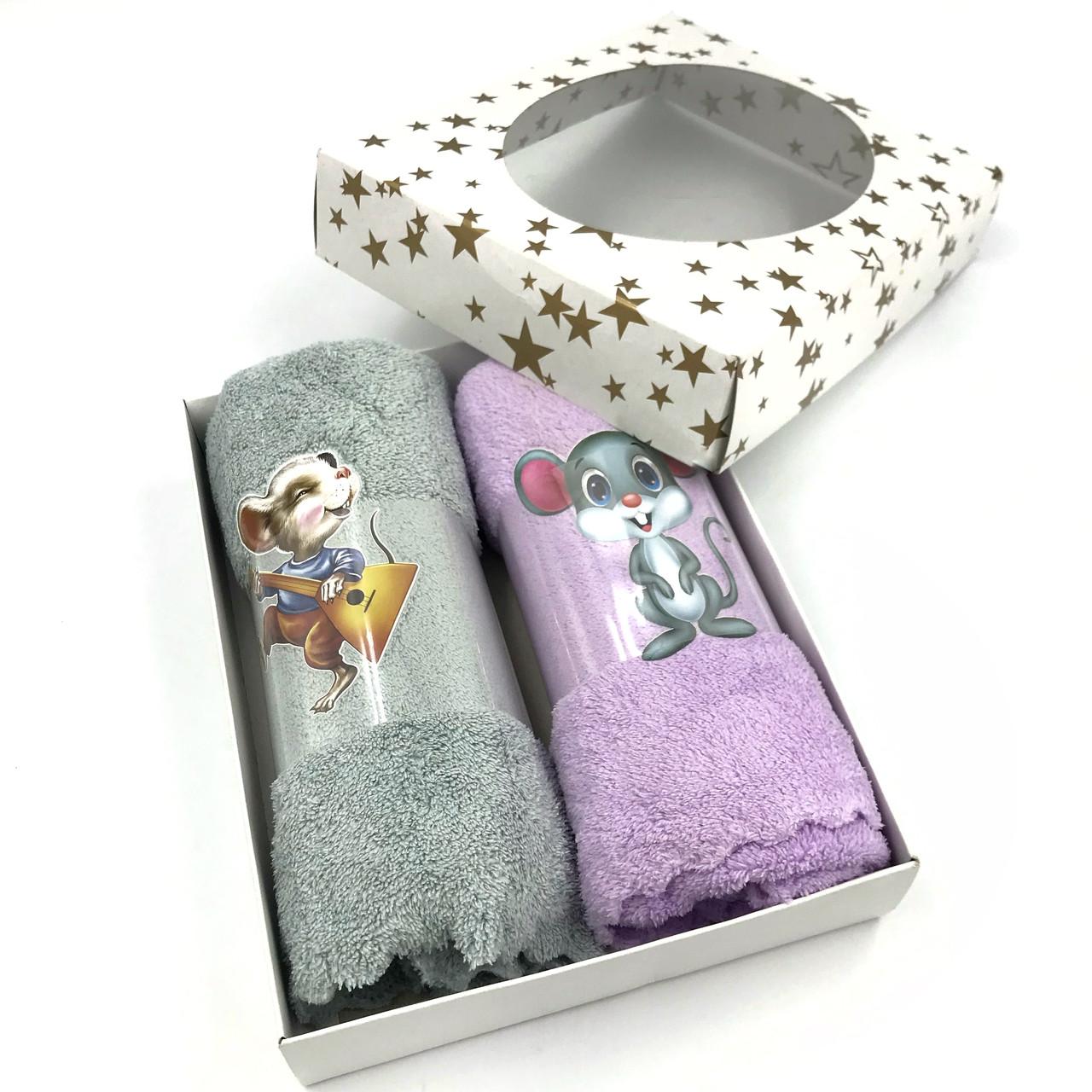 Подарочный набор полотенец  из микрофибры 30х80 Мышки (2шт) в коробке