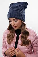 Шапка на флисе, крупная вязка, женская шапка 316 джинс. Капелюх жіночий