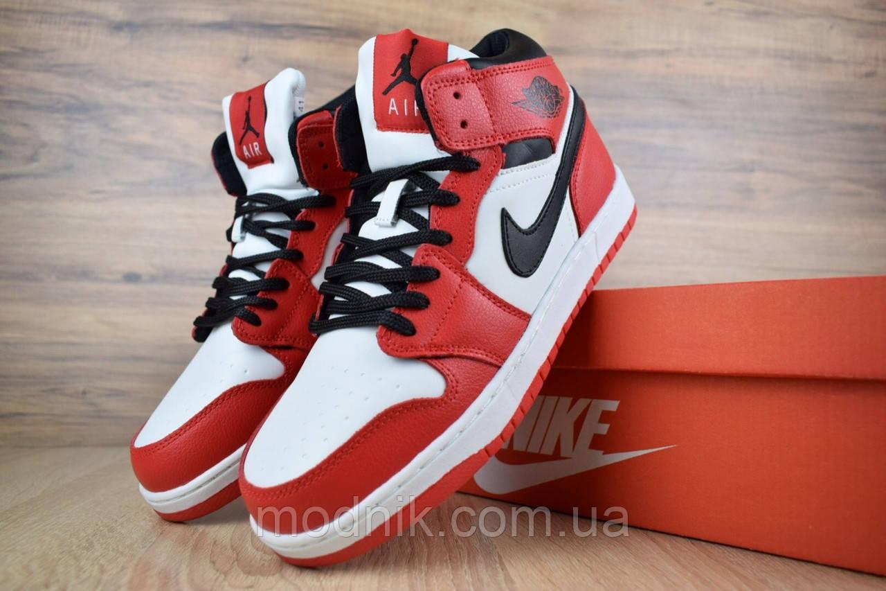 Мужские зимние кроссовки Nike Air Jordan (бело-красные)