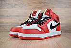 Мужские зимние кроссовки Nike Air Jordan (бело-красные), фото 3