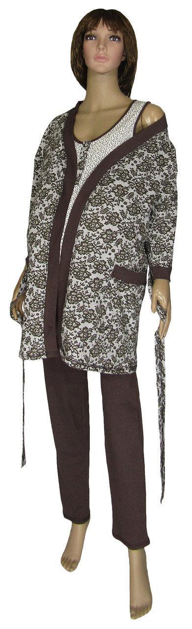 Пижама и халат 19016 Mindal Agure Brown для беременных и кормящих, р.р.42-56