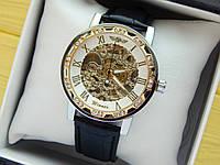 Мужские механические наручные часы Winner Skeleton (Виннер) серебро-золото, скелетоны, белый циферблат, CW420