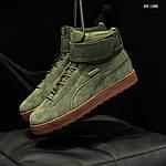 Мужские зимние кроссовки Puma Suede (зеленые), фото 6