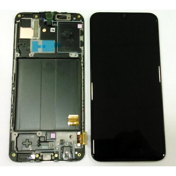 Дисплей модуль Samsung A405F Galaxy A40 в зборі з тачскріном, чорний, з рамкою, Original, сервісне опаковання, #GH82-19672A