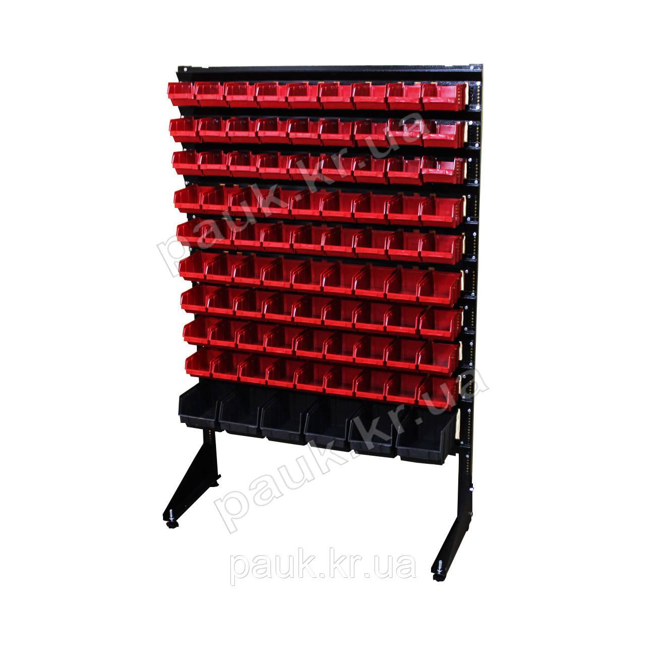 Органайзер для метизов Н1500 мм 87 ящика, односторонний стеллаж для хранения мелких деталей В/С