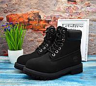 Ботинки женские Тимберленд ТЕРМО Classic Timberland 6 inch Black Boots, черные подростковые