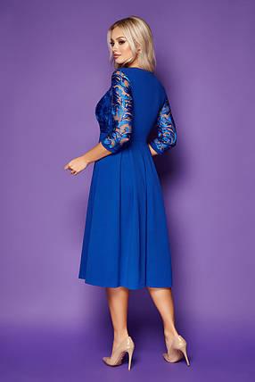 Вечернее платье с рукавом три четверти длина до колен электрик, фото 2