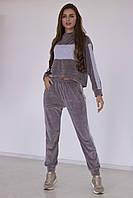 Женский велюровый спортивный костюм(худи с капюшоном и штаны)