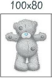 """Панелька из сатина для детского пледа """"Мишка Тедди с голубым носом"""" 80*100 см"""