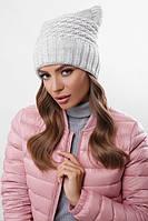 Шапка на флисе, крупная вязка, женская шапка 316 светло-серый. Капелюх жіночий