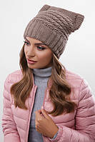 Шапка на флисе, крупная вязка, женская шапка 316 кофе. Капелюх жіночий