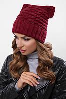 Шапка на флисе, крупная вязка, женская шапка 316 бордовый. Капелюх жіночий