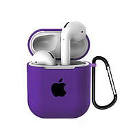 Чехол для AirPods/AirPods 2 silicone case with Apple Purple