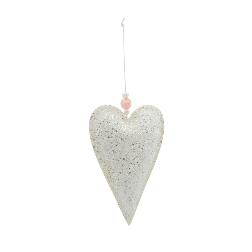 Подвеска Сердце бело-блестящая 15см 109072