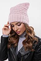 Шапка на флисе, крупная вязка, женская шапка 316 пудра. Капелюх жіночий