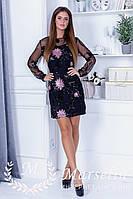 Гламурное женское вечерние платье вышивка микро-паеткой