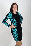 Вязаное платье Леди бирюзовое с вязаным цветочным узором 44-46 46-48 50-52