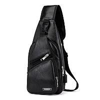 Мужская сумка-рюкзак  на одно плечо кросс-боди, экокожа, черная