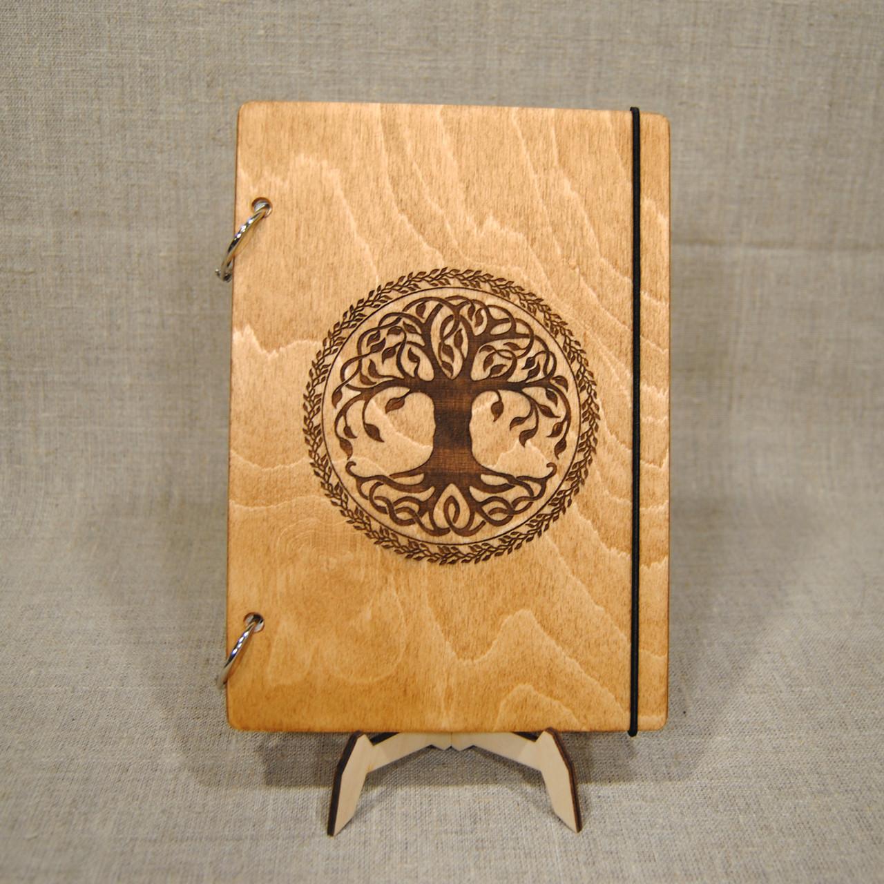 Скетчбук А5. Блокнот с деревянной обложкой.
