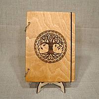 Деревянный блокнот M (А5 формат). Скетчбук А5 Дерево. Блокнот с деревянной обложкой Иггдрасиль