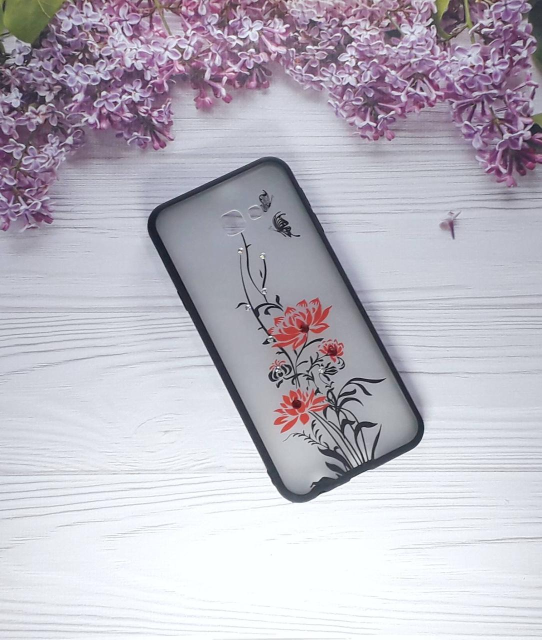 Чехол Yotoo Flowers для Samsung J4 Plus (2018), J415, Red
