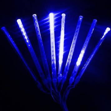Гирлянда Тающие сосульки, 8шт, 12 led, синяя, прозрачный провод, 20 см.